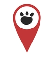 Red geo pin with paw vector image