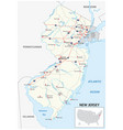 road map us american state new jersey