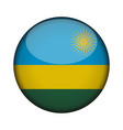 rwanda flag in glossy round button of icon rwanda vector image vector image