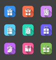 set of flat icons of gift boxes with shadows in vector image