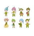 set with little cute gnomes forest elves vector image vector image