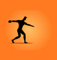 silhouette of a discus throw athlete vector image vector image