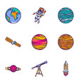 space astronomy icon set hand drawn style vector image