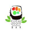 sushi bar logo template japanese food emblem vector image vector image