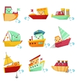 Toy Boats With Faces Colorful Set vector image vector image