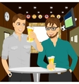 Two cheerful young men talking to each other vector image vector image