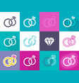 various creative wedding rings icons vector image vector image