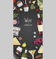 vertical banner with wine collection on black vector image