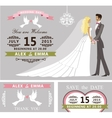 Wedding invitation set Cartoon bride and groom vector image vector image