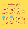 woman workout fitness set of gym icons on yellow vector image vector image