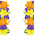 yellow orange lily and blue iris flower border on vector image vector image