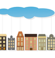 Colourful paper houses hang on a thread vector image