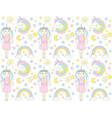 cute unicorn pattern with girl and rainbow vector image