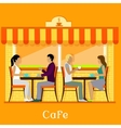 Facade Urban Cafe with Customers vector image