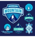 Set of Ski Snowboard Snow Mountains Sport Logos or vector image