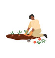 african american smiling woman gathering harvest vector image vector image