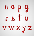 Alphabet with small red folded paper letters vector image