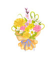 attractive bouquet with varied flowers color card vector image vector image