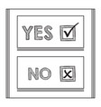 black striped yes and no words check mark and box vector image