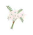 bouquet with flowers and filling leather fern vector image
