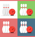 bowling ball and skittles set isolated on a vector image vector image