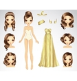 Brown Hair Set For Gold Paper Doll vector image vector image