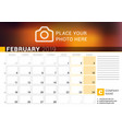 calendar for february 2019 design print template vector image vector image
