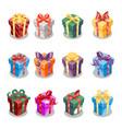 cartoon christmas present gift box ribbon new year vector image