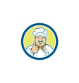 Chef Cook Happy Thumbs Up Circle Retro vector image vector image