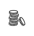 coins stack flat icon vector image vector image