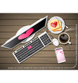 computer and mobile phone with coffee and bread vector image