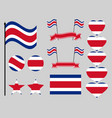 costa rica flag set symbols flag in heart vector image vector image