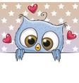 cute cartoon owl is holding a placard vector image vector image