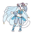 cute cat woman belly dancer vector image