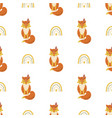 cute fox pattern seamless with rainbow simple vector image vector image