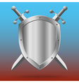 Double-edged swords and medieval shield vector image
