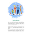 family skiing people with equipment winter season vector image vector image