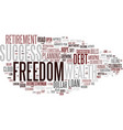 financial freedom word cloud concept vector image vector image