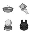fishing cleaning and other monochrome icon in vector image vector image