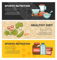 fitness food and sports healthy diet nutrition vector image vector image