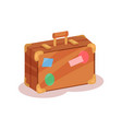 flat icon of vintage suitcase with colorful vector image