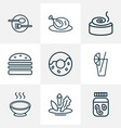 food icons line style set with juice donut vector image