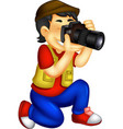 funny photographer cartoon in action vector image vector image