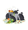 garbage pile - black trash bags and metal bins vector image vector image