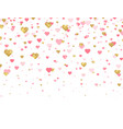glitter gold and pink hearts background vector image vector image