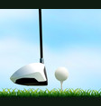 golf club and golf ball on the lawn vector image vector image