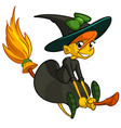 halloween cute witch flying on her broom cartoon vector image vector image