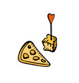 hand drawn sketch a piece cheese vector image