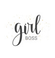handwritten lettering of girl boss vector image