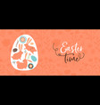 happy easter hand drawn rabbit and egg banner vector image vector image